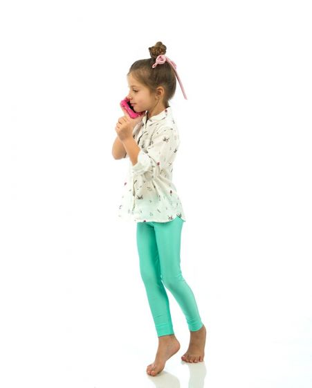 """Jaqueline"" Aqua Kiddo Leggings"
