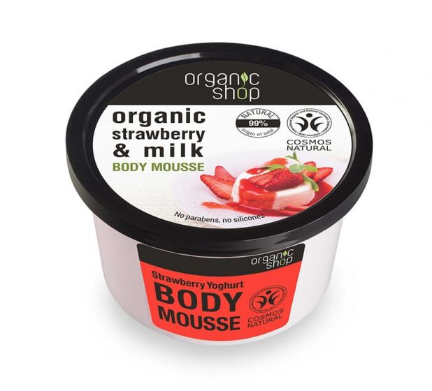 Organic Shop Body Mousse with Strawberry & Milk 250ml